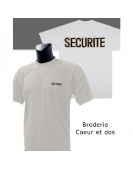 T SHIRT BLANC BRODE SECURITE
