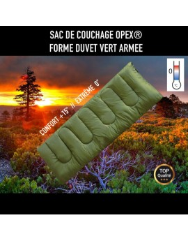 SAC DE COUCHAGE OPEX FORME DUVET VERT ARMEE