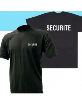 TEE SHIRT NOIR MC IMPRIME SECURITE