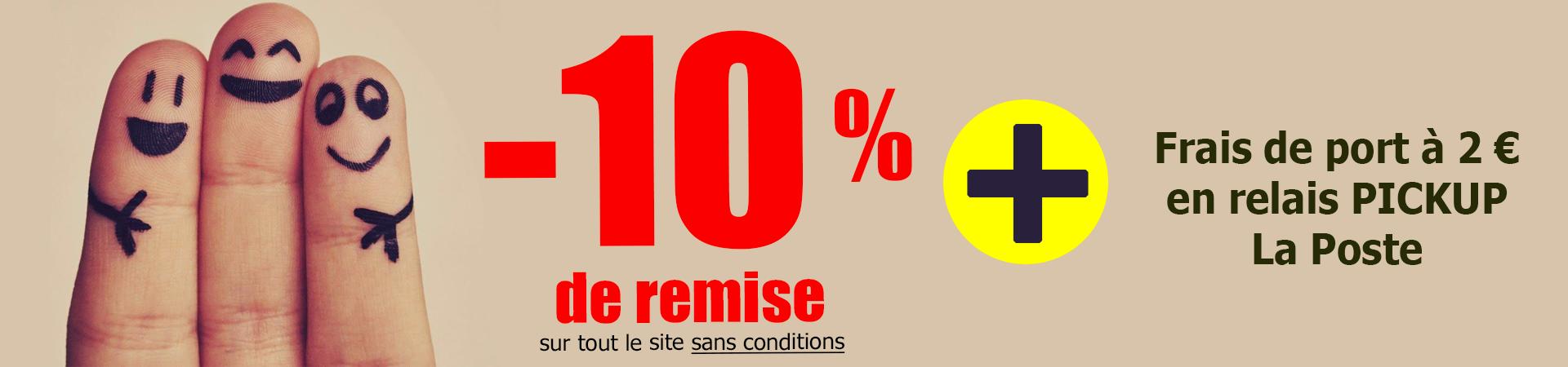 10% de réduction sur le site et frais de port à 2 euros